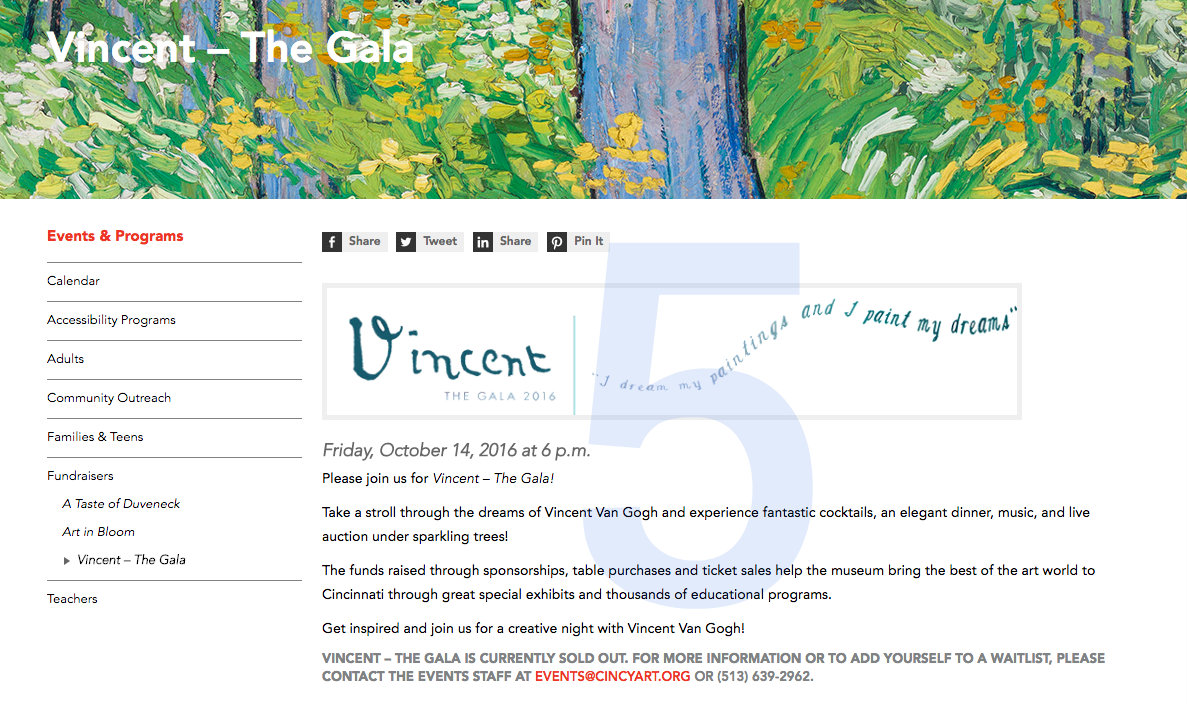 #5 - Cincinnati Art Museum is hosting a gala event on Friday, Oct. 14 to kick off its new Van Gogh exhibit.