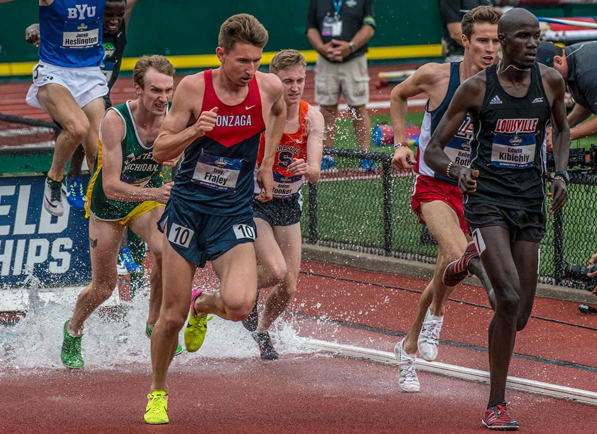 Edwin Kibichiy, Louisville, wins the 3000m Steeplechase with a time of 8:41.07 on day one of the NCAA Division I Championships at Hayward Field. Photo by Rhianna Gelhart, Oregon News Lab