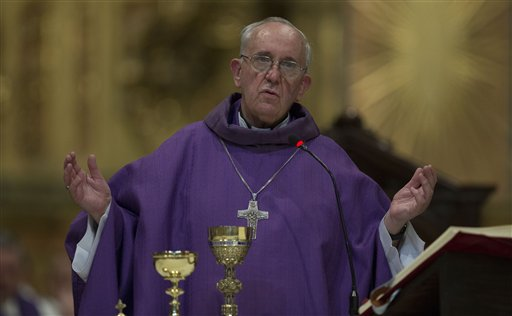 The Archbishop of Buenos Aires, Cardinal Jorge Mario Bergoglio leads a mass at the Metropolitan Cathedral in Buenos Aires, Argentina. Bergoglio was selected as the new pope on Wednesday.