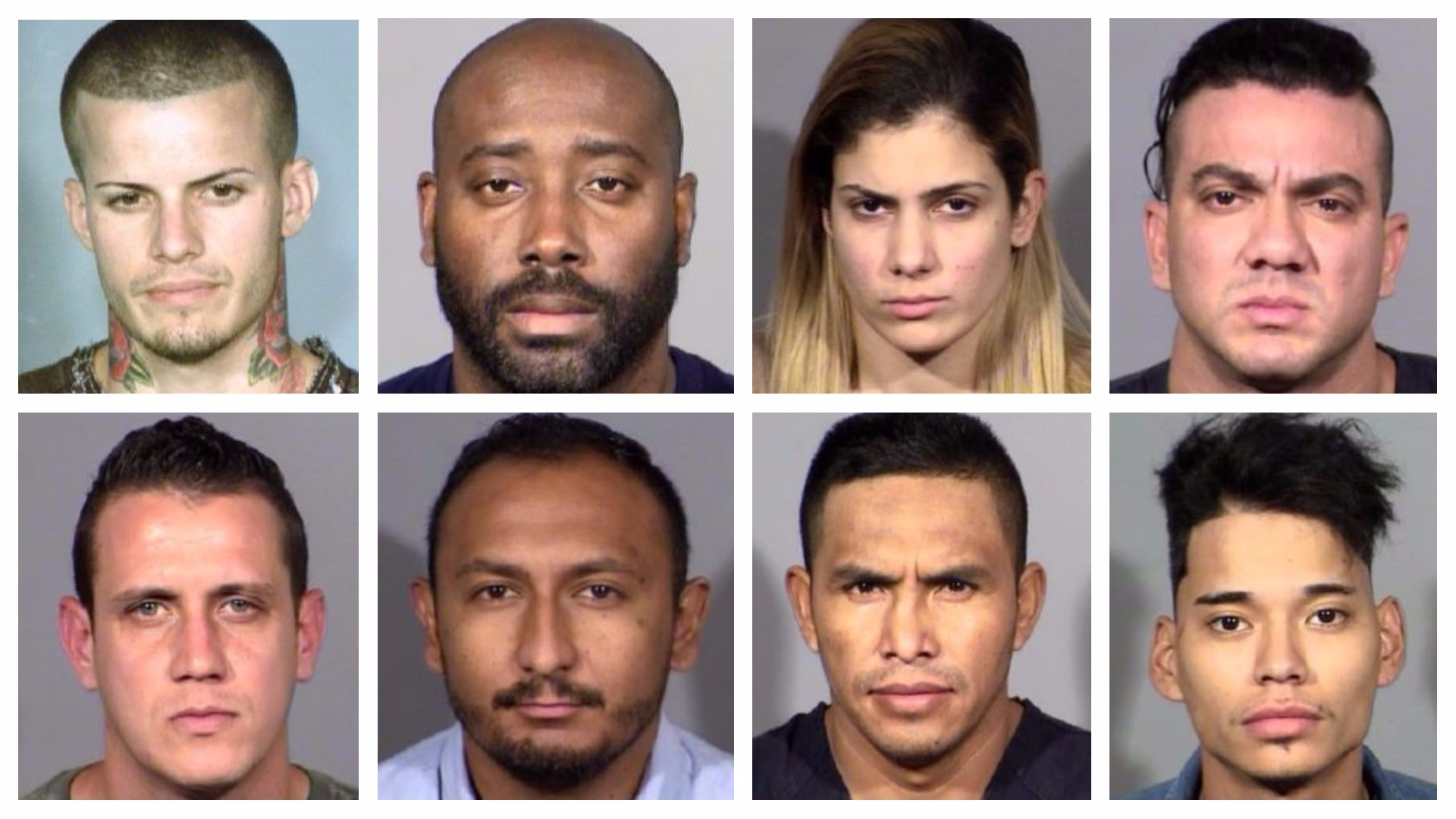 Lemay Oliver Monzon (top, from left); Edgar Betancourt Preval; Loipa Vuelta Arafet; Lian Grave de Peralta Rosales; Jose Alejandro Betancourt (bottom, from left); Jacob Salazar-Morales; Eleuterio Morales Ramirez; Anthony Robles (LVMPD/KSNV)