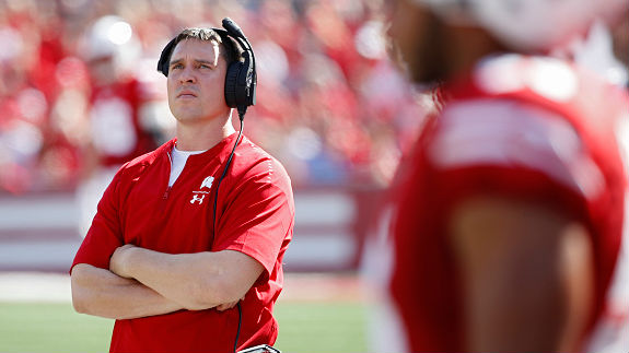 Jim Leonhard is entering his third season as Wisconsin's defensive coordinator.{ }