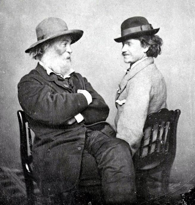 Walt Whitman, left, with Peter Doyle. (Image via Public Domain)