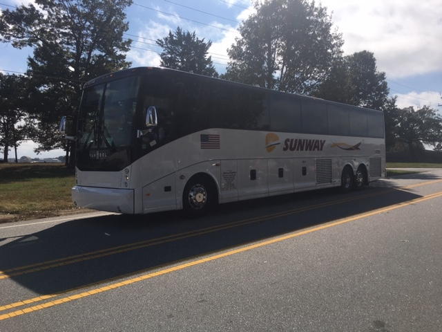 Oct. 27, 2020 - Buses are shuttling supporters to the venue more than three hours before Vice President Mike Pence is expected for the Greenville, S.C. event. (Photo credit: WLOS Staff)