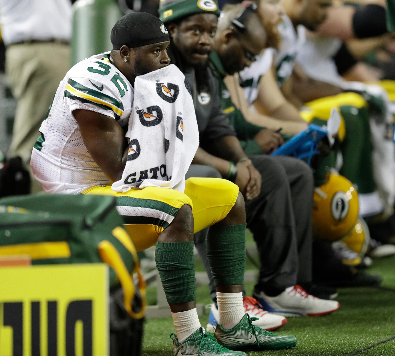 Green Bay Packers' Christine Michael, left, sits on the bench during the second half of the NFC championship game against the Atlanta Falcons, Sunday, Jan. 22, 2017, in Atlanta. (AP Photo/David J. Phillip)
