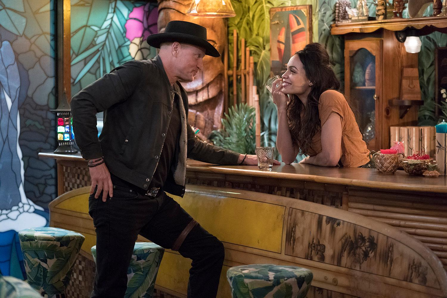 Tallahassee (Woody Harrelso) and Nevada (Rosario Dawson) in Columbia Pictures' ZOMBIELAND 2: DOUBLE TAP.{ }(Credit: Jessica Miglio / Columbia Pictures)