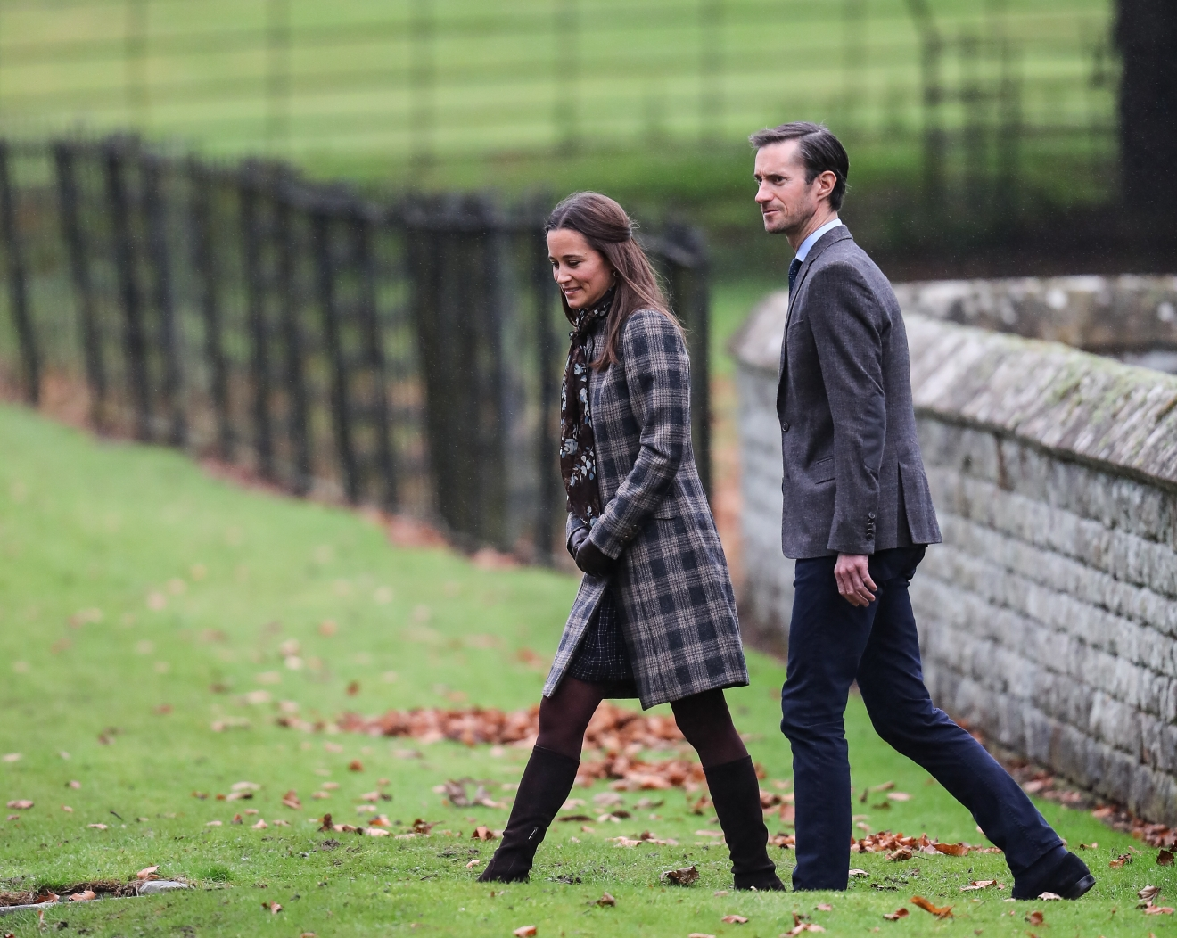 The Duke and Duchess of Cambridge arrive at St Marks Englefield with Prince George and Princess Charlotte. The family were also accompanied by Michael and Carol Middleton, James Middleton, Pippa Middleton and her fiance James Matthews.  Featuring: Pippa Middleton, James Matthews Where: Englfield, United Kingdom When: 25 Dec 2016 Credit: WENN.com