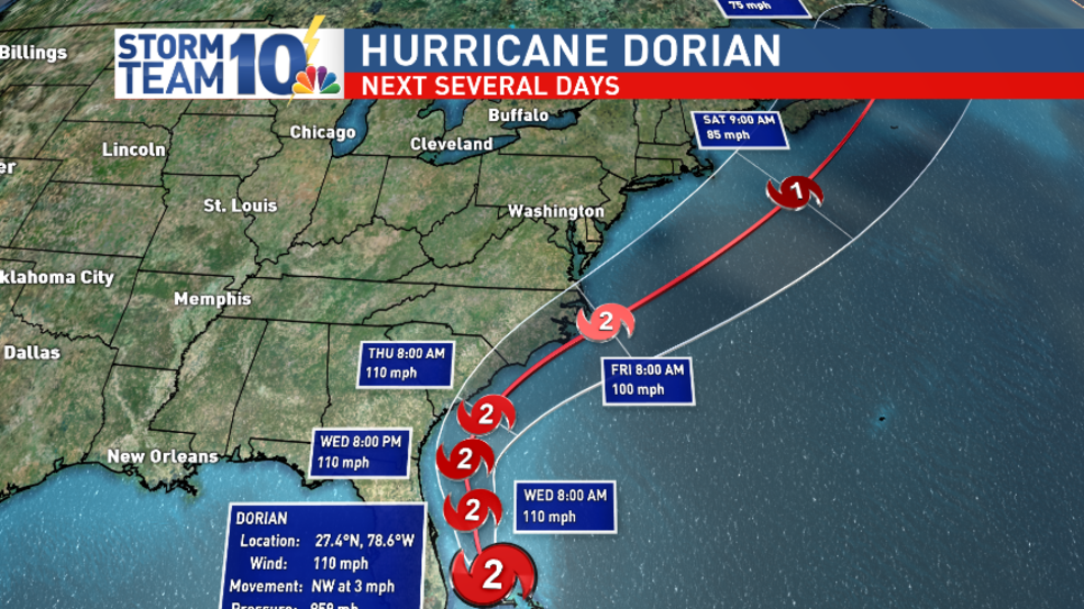 Dorian turns north, could have local implications