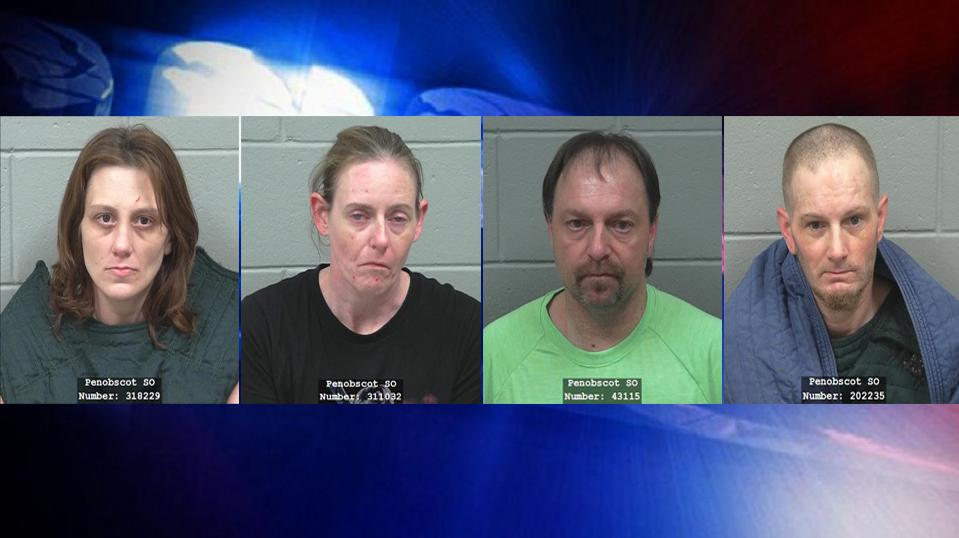 The Maine Drug Enforcement Agency says they arrested four people and located the body of another person Thursday in connection with a meth lab found inside an Old Town apartment. (Penobscot County Jail)