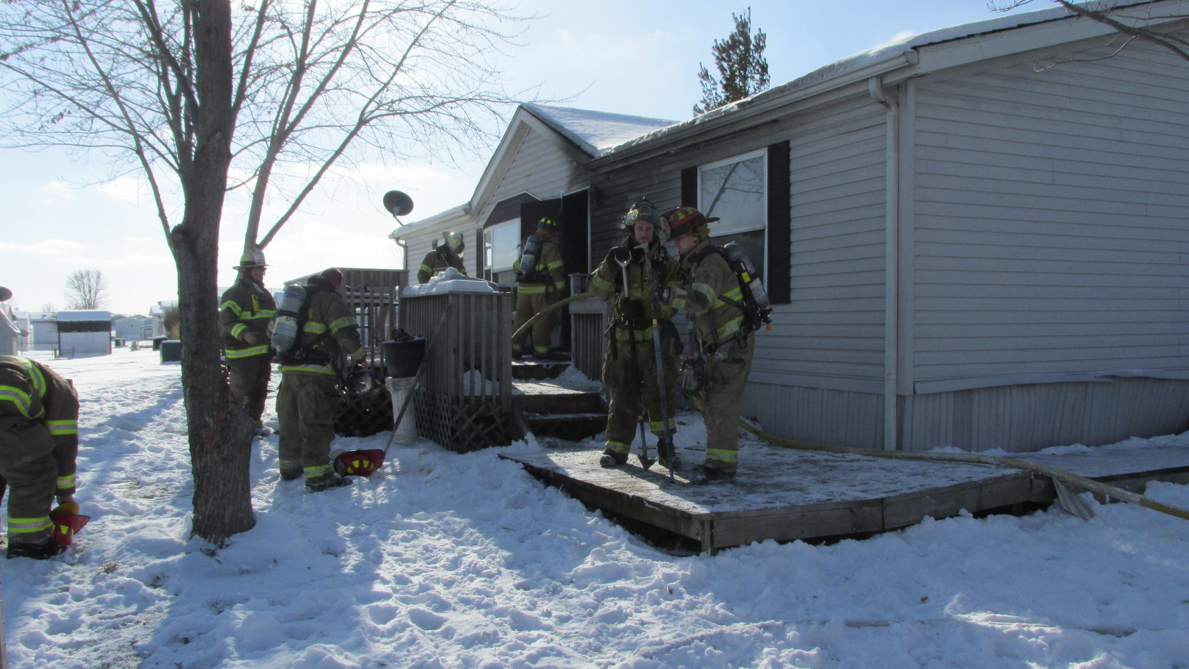 North Liberty fire crews were dispatched to 149 Golfview Ct in North Liberty for a report of a manufactured home on fire. (photo courtesy North Liberty Fire Department)<p></p>