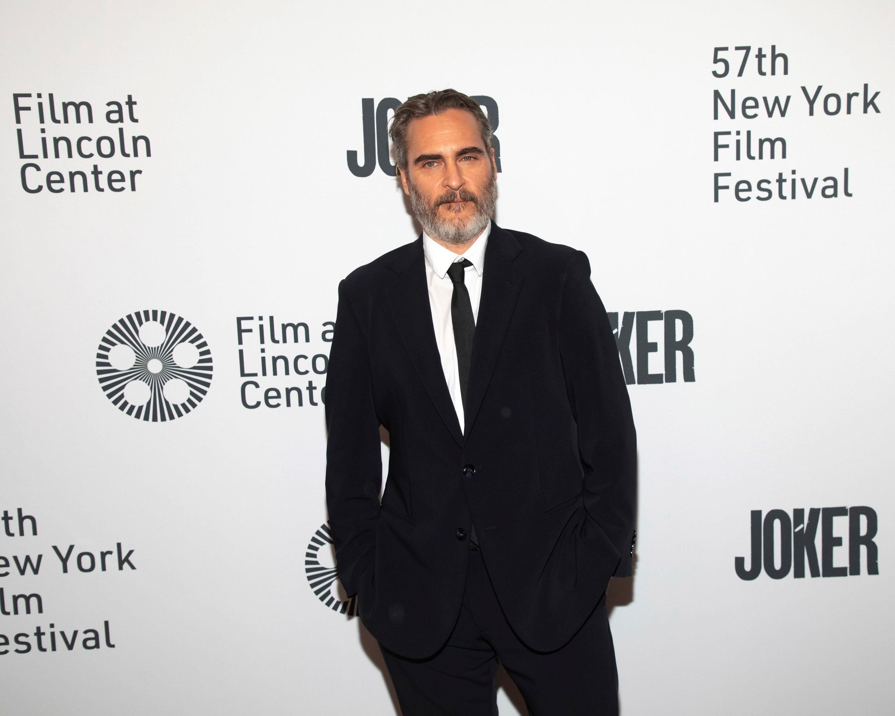 "Actor Joaquin Phoenix attends the ""Joker"" premiere at Alice Tully Hall during the 57th New York Film Festival on Wednesday, Oct. 2, 2019, in New York. (Photo by Brent N. Clarke/Invision/AP)"