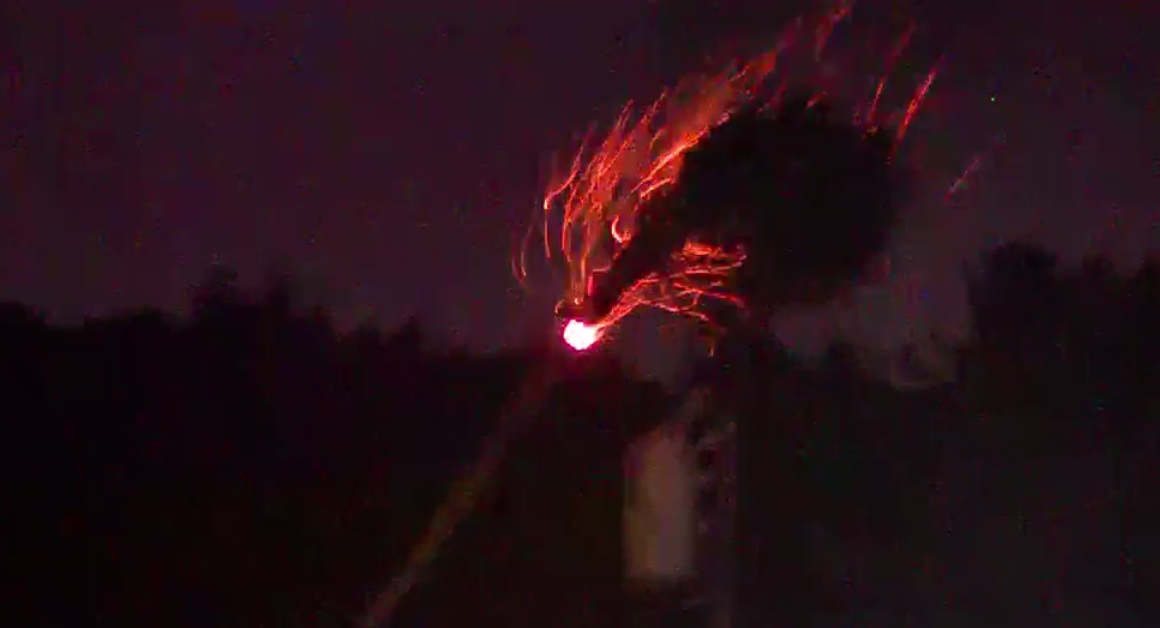 Palm tree crashes into power line, catches fire as sparks fly; Irma's power spreads debris near West Palm Beach, Fla. (WPEC)