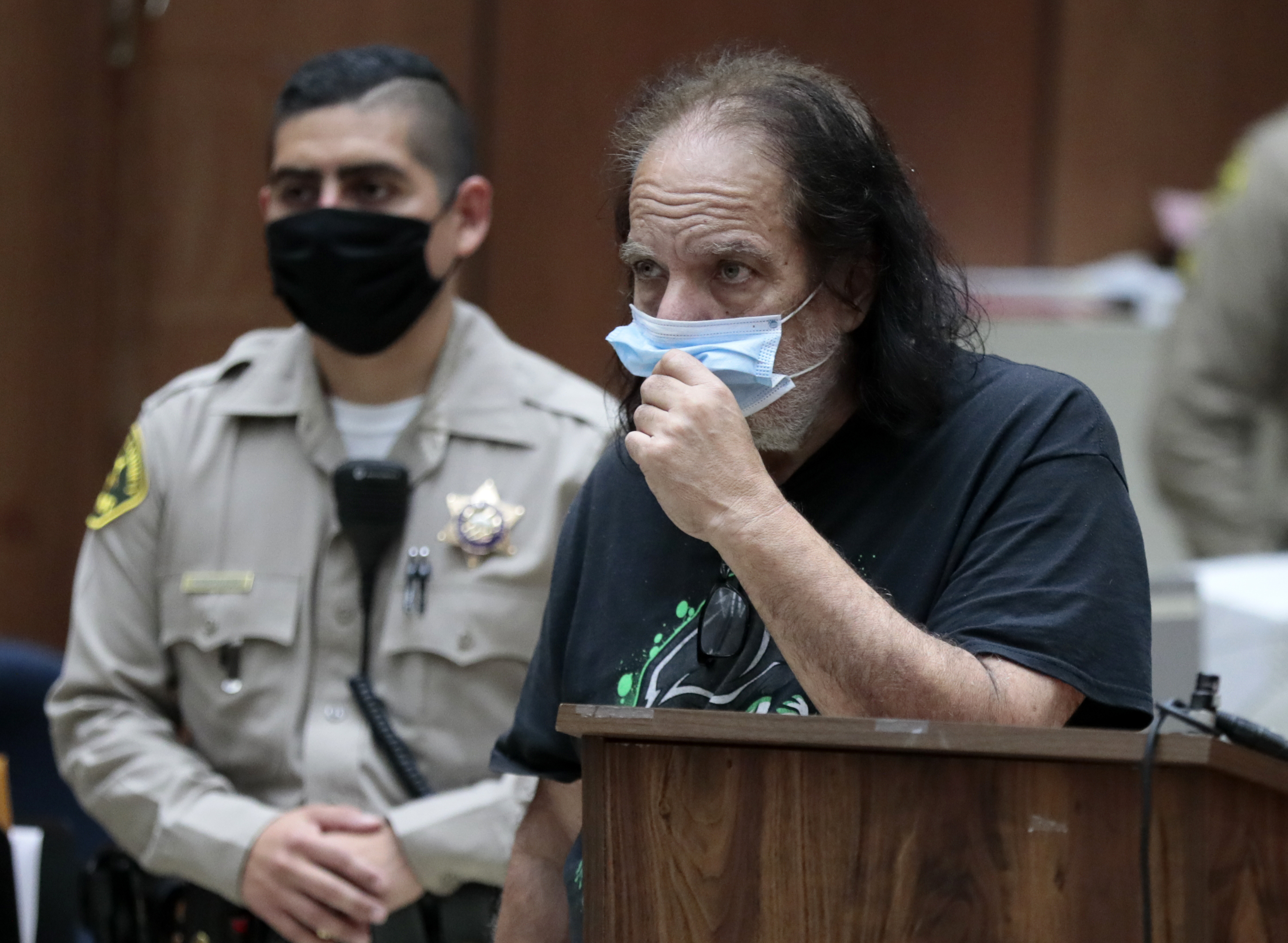 Adult film star Ron Jeremy makes his first court appearance Tuesday, June 23, 2020, in Los Angeles. Los Angeles County prosecutors say Jeremy has been charged with raping three women and sexually assaulting a fourth. (Robert Gauthier/Los Angeles Times via AP, Pool)