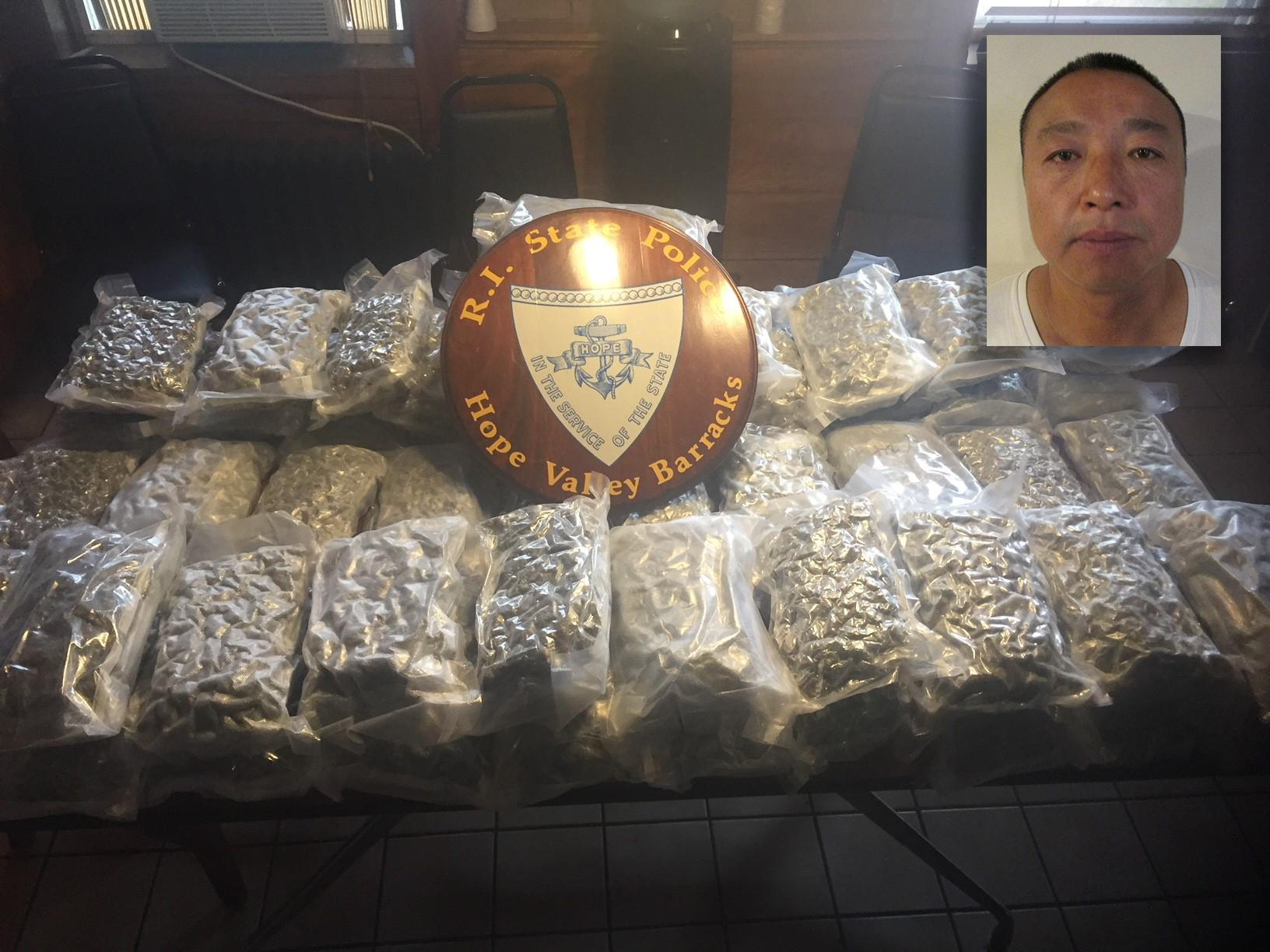 Rhode Island State Police arrested Xia Ofeng Wang after they seized an estimated $60,000 worth of marijuana during traffic stop in West Greenwich. (Police photos)
