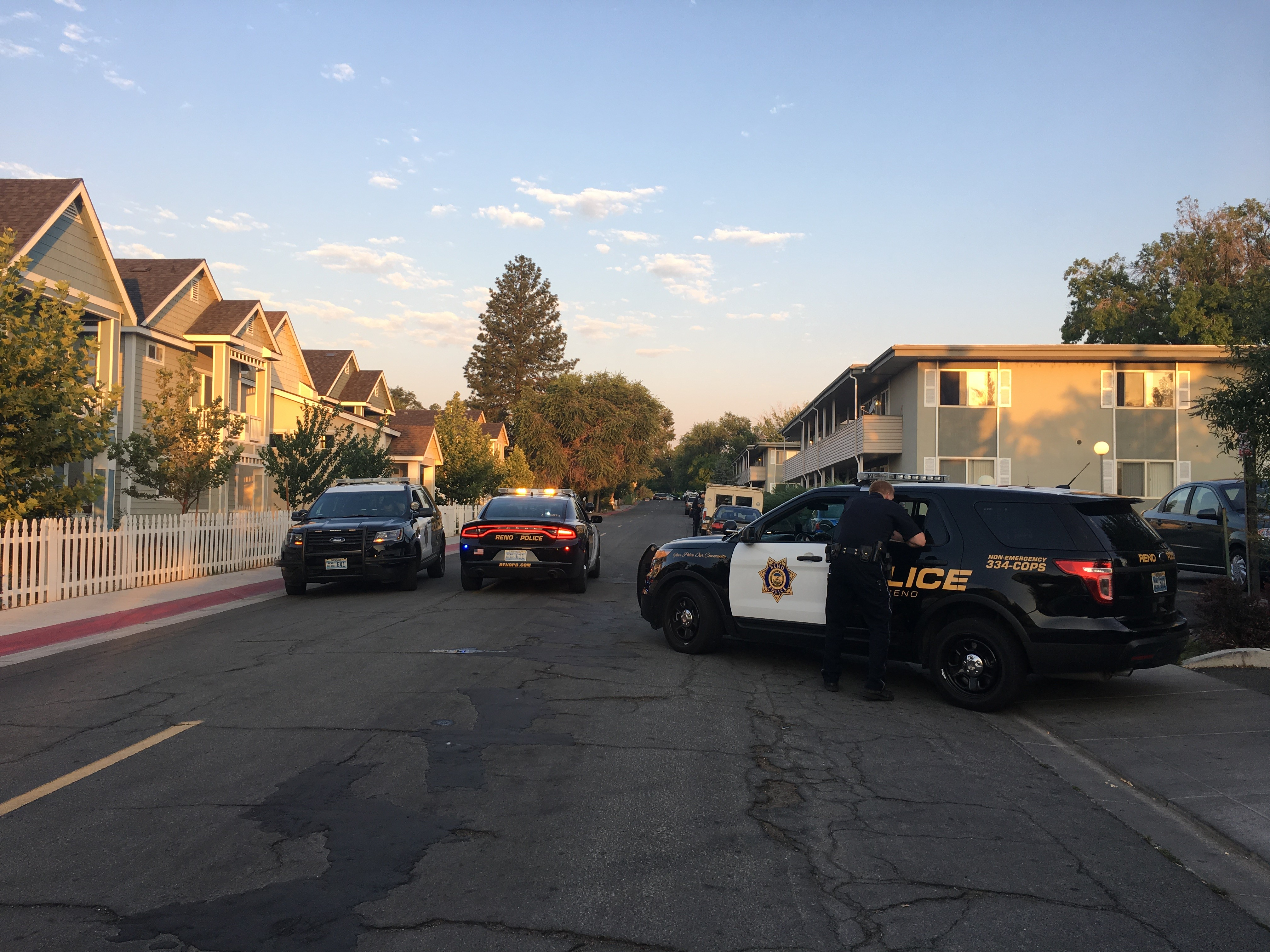 Heavy police activity in the area of Lakeside and Hillcrest drives in Reno on Tuesday, August 1.