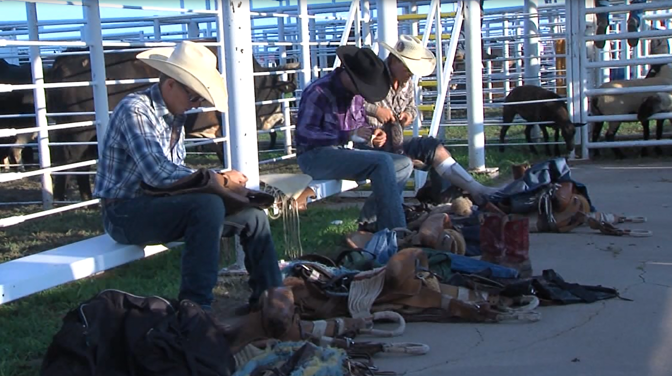 Cowboys prepare for the first performance on Aug. 3, 2017, at the Kansas Biggest Rodeo (KHGI)