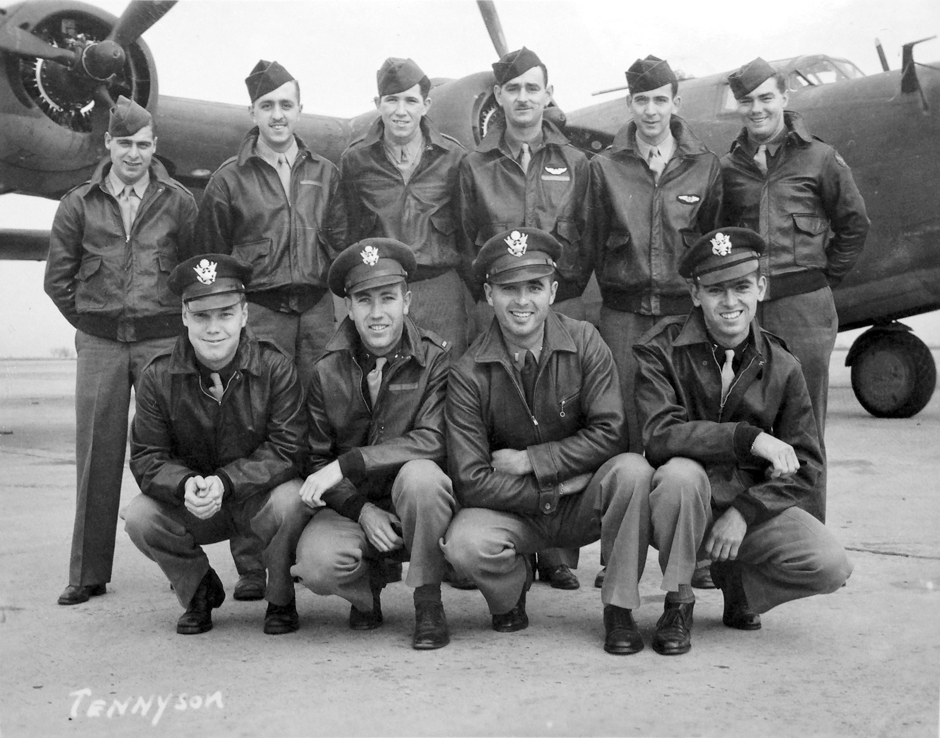 This circa 1943 U.S. Army Air Force photo from the Kelly Family Research Project shows Lt. Tom Kelly, lower right, and other members of his crew of the B-24 bomber training in the U.S., that was later shot down in Hansa Bay in what is now Papua New Guinea during World War II. When Kelly's relatives got word that his bomber had been found, a wave of exhilaration mixed with grief washed over family members. Although relatives who never met Kelly had pieced much of his life story together over the years, they never knew what happened when his plane was shot down off the coast of Papua New Guinea in 1944. They got their answer recently when the group Project Recover found the B-24 bomber under 213 feet of water. (U.S. Army Air Force/Kelly Family Research Project via AP)