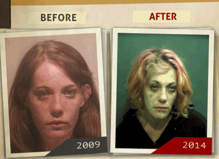 Side-by-side 2009 and 2014 photo taken of woman  who reportedly had a 'possession of heroin' charge. (Photo, info from rehabs.com/)
