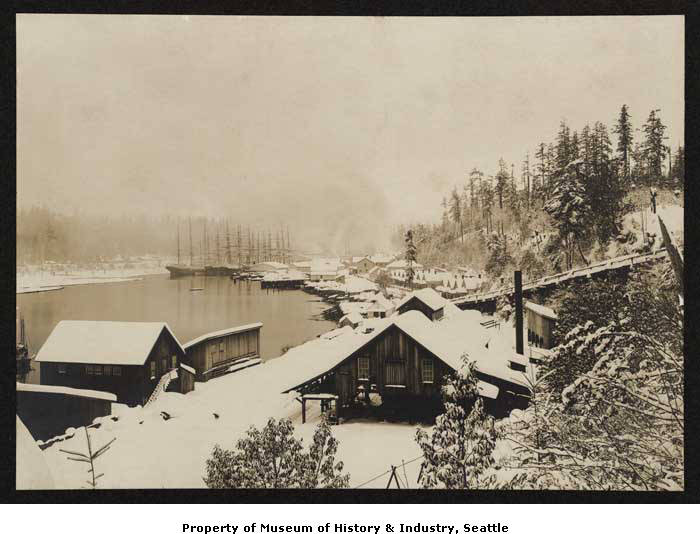 <p>Caption	In January 1880, five feet of snow fell in the Seattle area. At Port Blakely, on Bainbridge Island, the lumber mill opened late each day so that workmen could clear the snow off the roofs in town. The weather was so cold that the snow stayed on the ground for several weeks. This photo shows the planing mill and waterfront at the Port Blakely Mill Company during the big snow of January 1880. (Photo shs11500 // Museum of History &amp;amp; Industry, Seattle)</p>