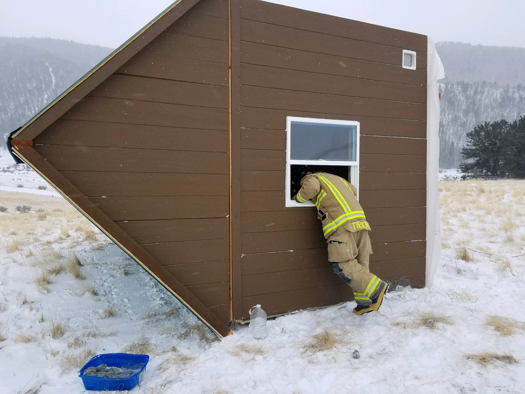 Tiny home knocked over in Colorado blizzard. (Cripple Creek Fire Rescue)