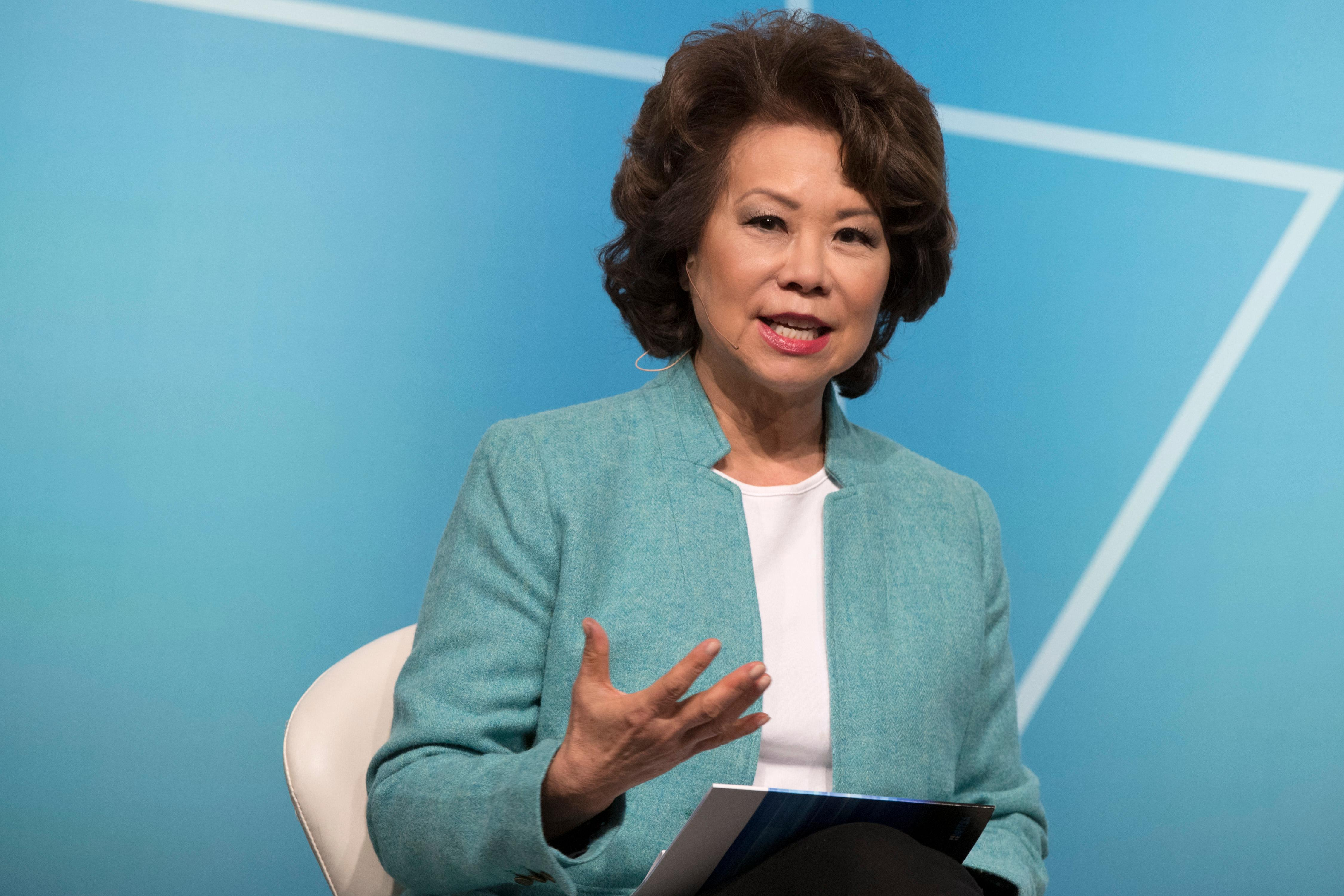 U.S. Secretary of Transportation Elaine Chao speaks during the second day of CES Wednesday, January 10, 2018, at the Westgate. CREDIT: Sam Morris/Las Vegas News Bureau