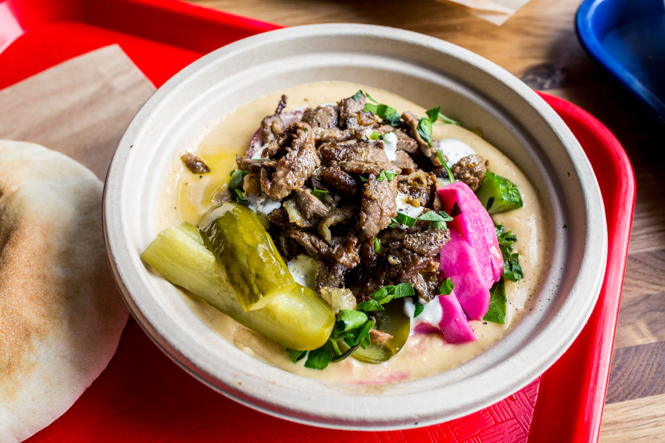 Beef shawarma served over hummus with veggies / Image: Catherine Viox{ }// Published: 4.7.19