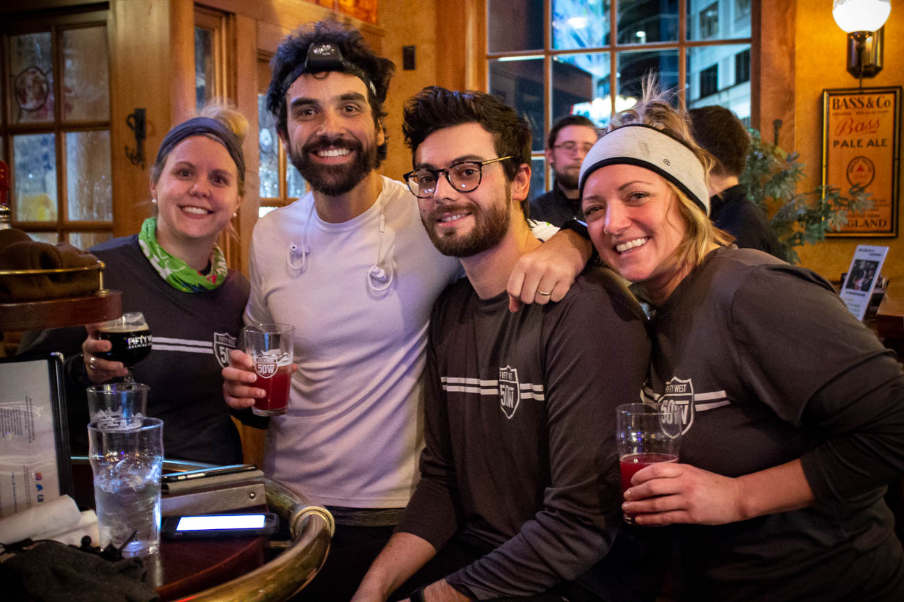 Frannie Rosenkrantz, Bobby Slattery (owner), Max Fram, and Katie Swantko are all employees at Fifty West Brewing Company.{ }/ Image: Katie Robinson, Cincinnati Refined // Published: 1.27.19