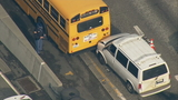 Man suspected of DUI after van rams school bus, State Patrol car on I-5