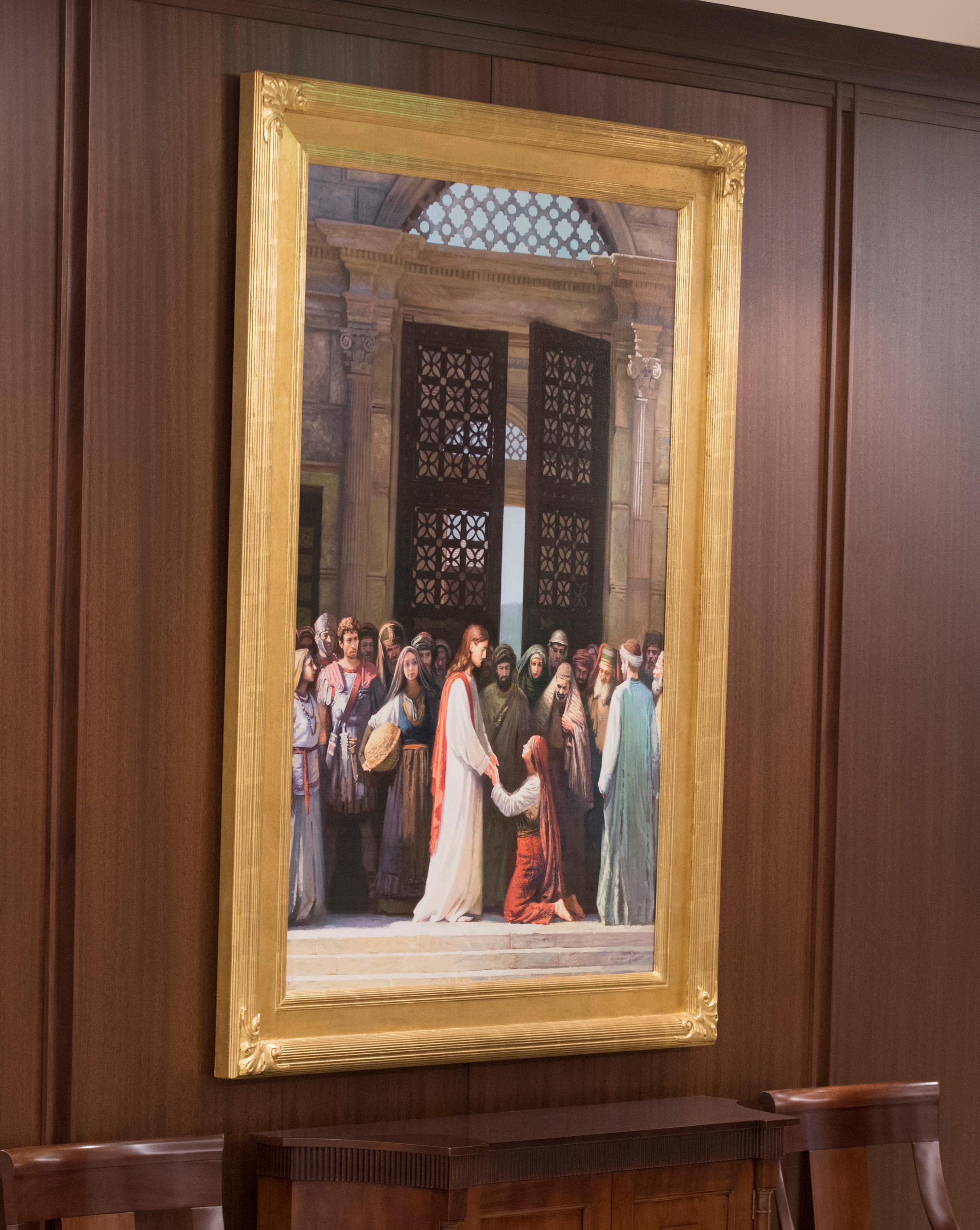Several paintings of Jesus Christ can be seen in the Jordan River Utah Temple.{ }©2018 BY INTELLECTUAL RESERVE, INC. ALL RIGHTS RESERVED.