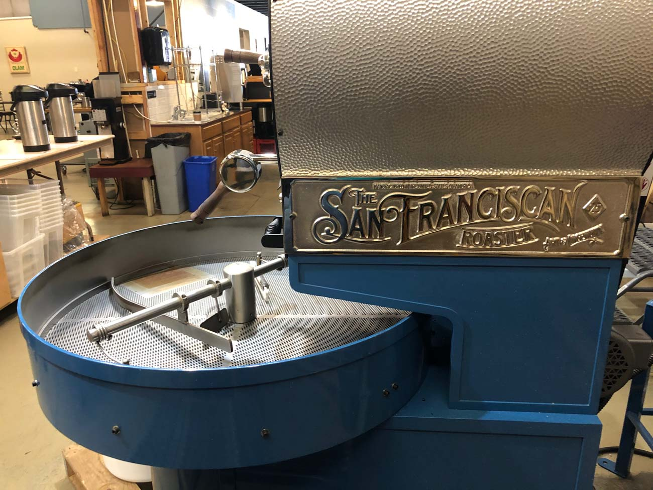 They use a carbon steel drum roaster from The San Franciscan Roaster Co. that can roast four batches in an hour. The roaster allows more precision and control, which means a better-tasting brew for you. / Image: Liz Engel // Published: 7.27.20