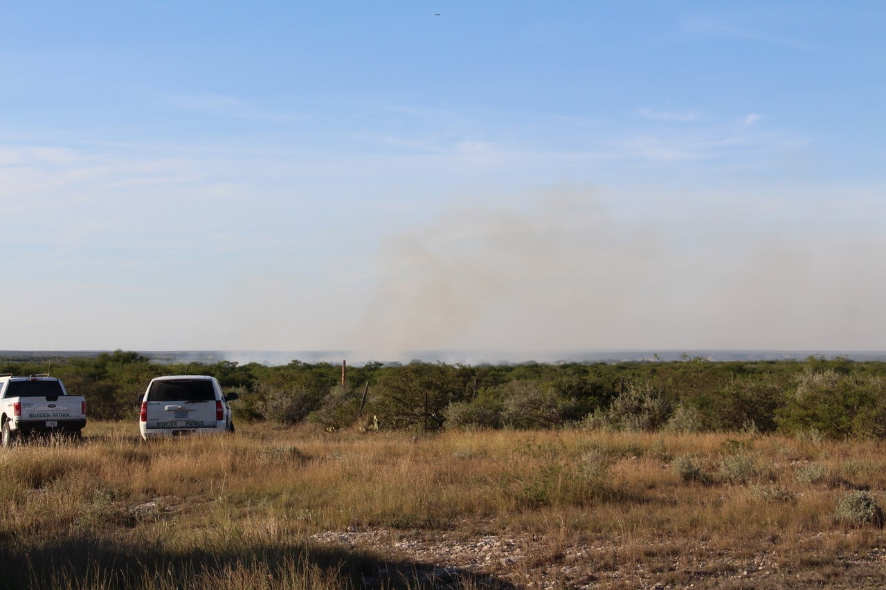 A small military plane crashed near Lake Amistad Monday. (Photo courtesy: Del Rio News-Herald)<p></p>