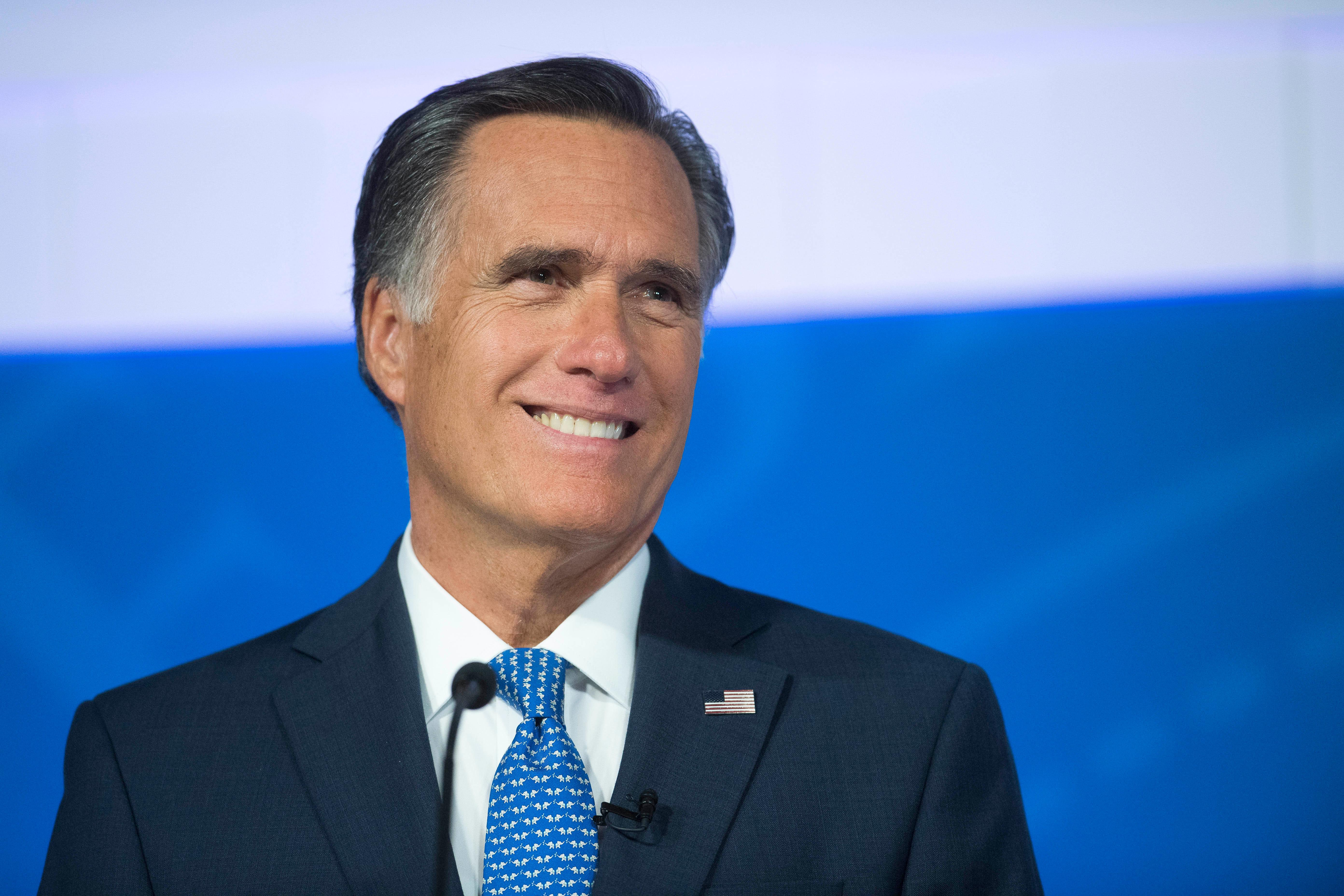 FILE--In this Oct. 9, 2018, file photo, Republican U.S. Senate candidate Mitt Romney is seen during the debate with U.S. Democratic Senate candidate Jenny Wilson in Cedar City, Utah. Romney took up the question of water use in Utah, one of the driest states in the country, during the debate as he runs for a U.S. Senate seat in his adopted home state. (James M. Dobson/The Spectrum via AP, file)