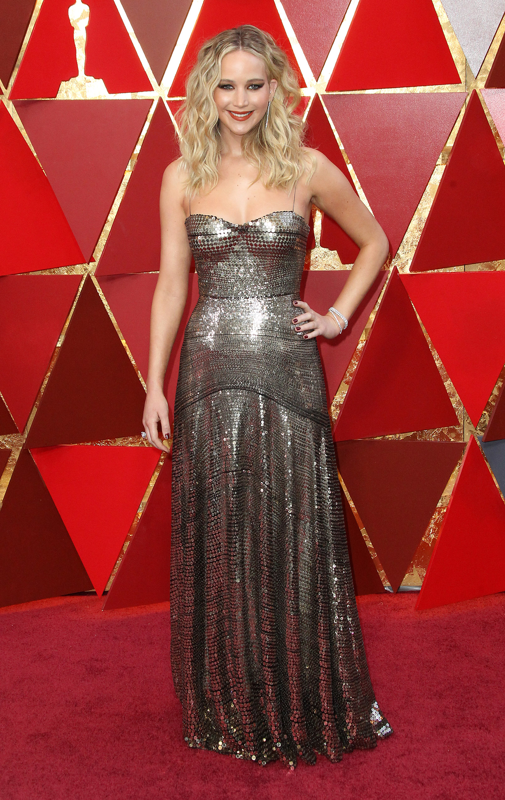 Jennifer Lawrence{&amp;nbsp;}arrives at the 90th Annual Academy Awards (Oscars) held at the Dolby Theater in Hollywood, California. (Image: Adriana M. Barraza/WENN.com)<p></p>