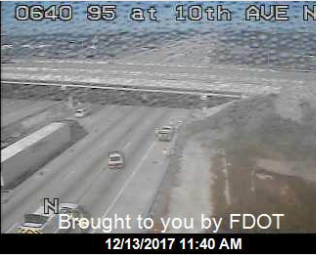 Tractor trailer hits overpass on I-95 at 10th Ave. (FDOT)