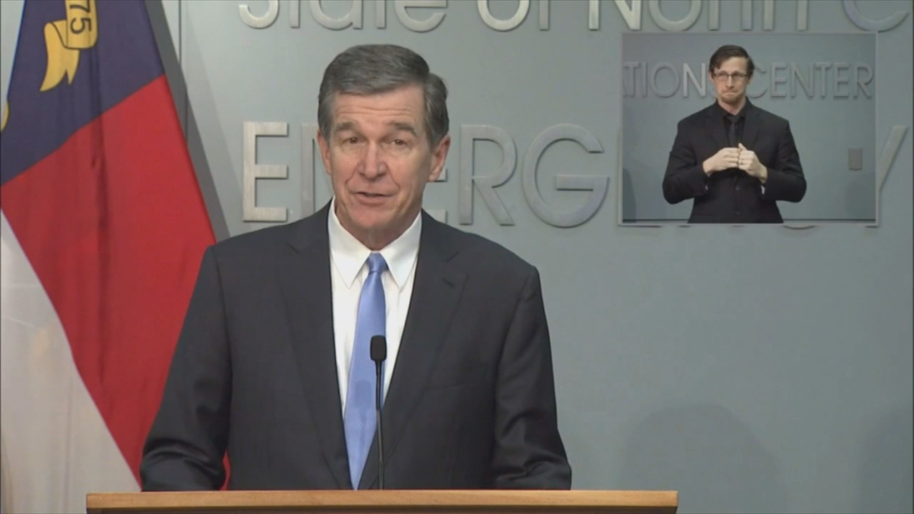 """We are in danger. This is a pivotal moment in our fight against the coronavirus,"" Governor Roy Cooper said during Monday's Coronavirus Task Force briefing. ""Our actions now will determine the fate of many."" (Credit: NCDPS)"