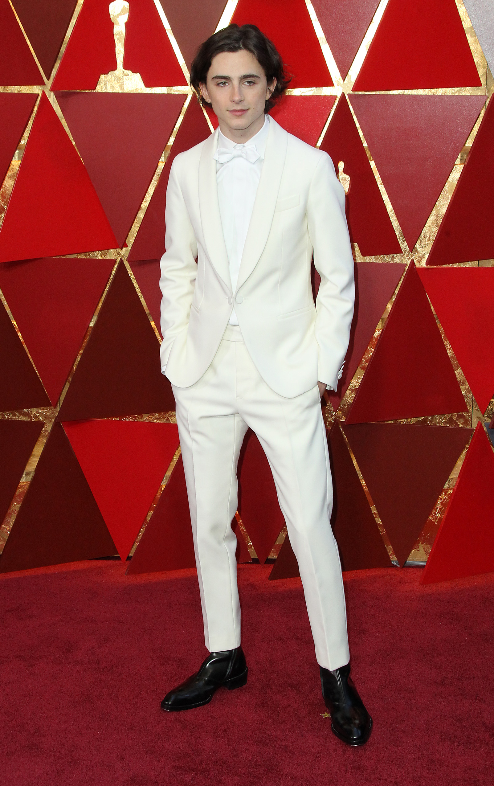 It seems most fashion critics disagree with me on this one as I've seen Timothee topping many best dressed lists this year, but the all white tux was a hard pass from me. (Image: Adriana M. Barraza/WENN.com)<p></p>