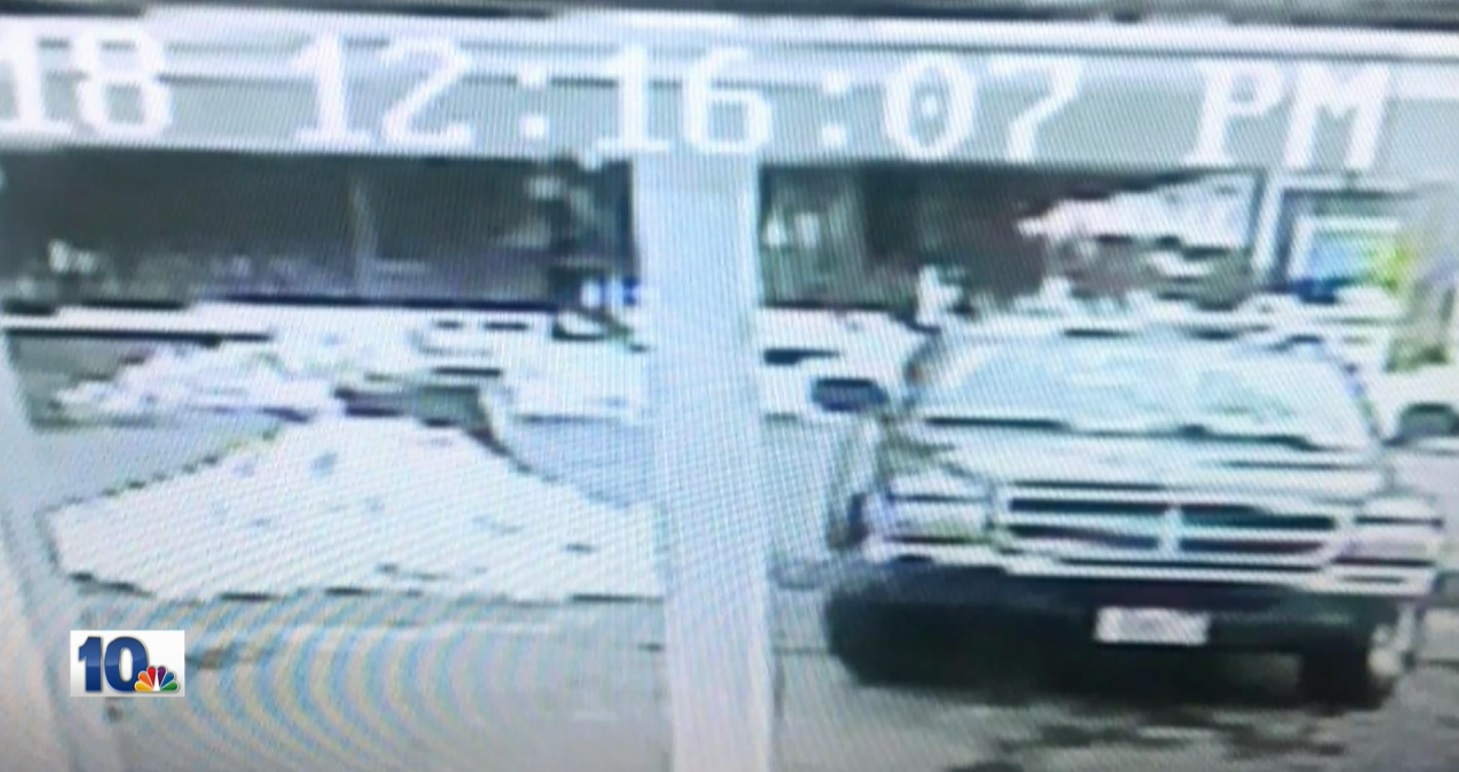 Providence police released images from a nearby security camera of the pick-up truck they said was used to steal the camera. They said the dark-colored Dodge with two people inside held up traffic while the camera was being stolen. (Police photo)