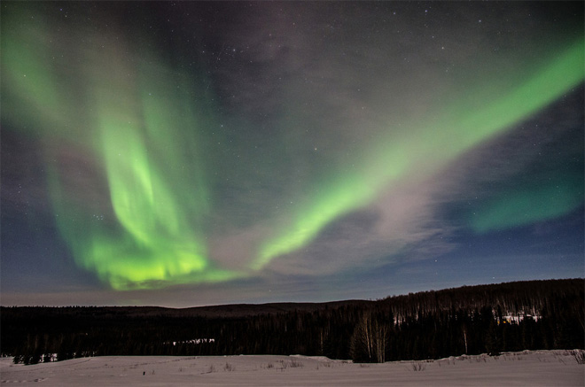 Northern Lights shine over Chandalar Lodge and Two Rivers Lodge. (Photo courtesy: Tyler Mode. See more pics at weathercrazy.smugmug.com)
