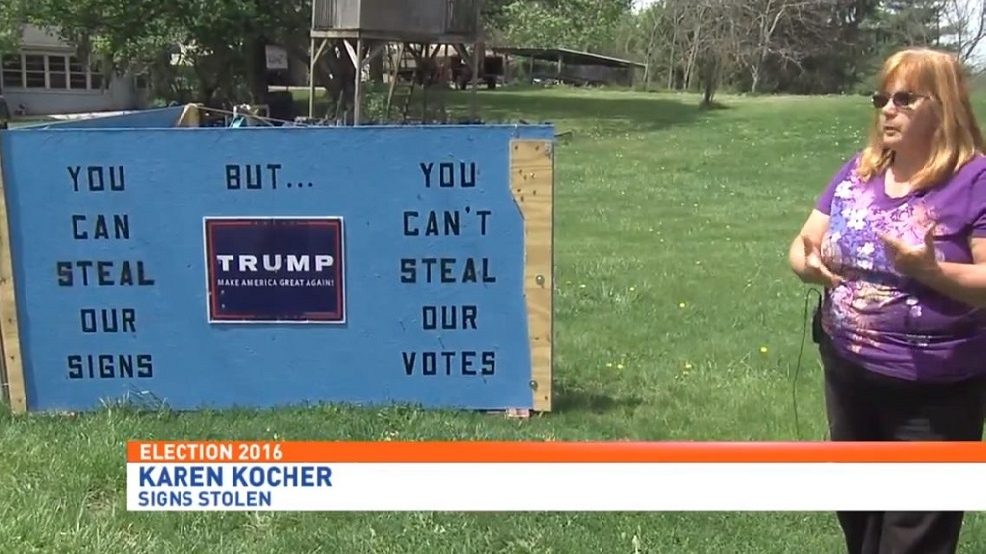couple 39 s response to stolen trump signs building a wall wluk. Black Bedroom Furniture Sets. Home Design Ideas