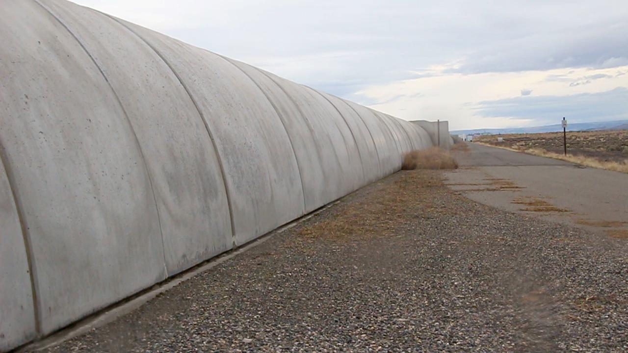 A ground-based view of one of the concrete arms of LIGO that stretches northwest into the desert for 2.5 miles on the Hanford Nuclear Reservation in Richland, Washington. (Photo: Steve Benham/KATU.com)