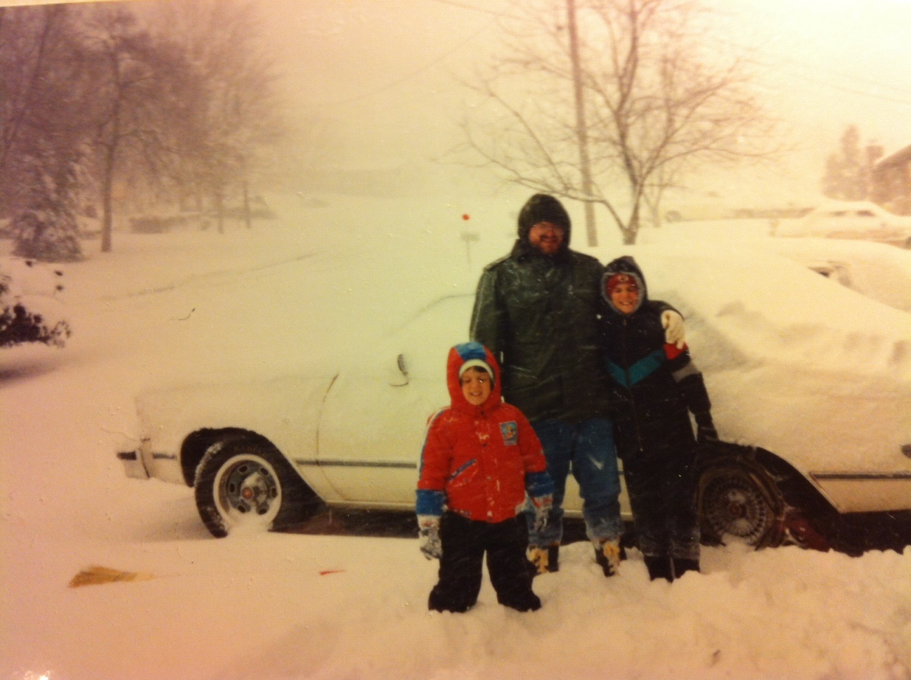 WCYB meteorologist David Boyd plays in the snow during the blizzard of 1993.