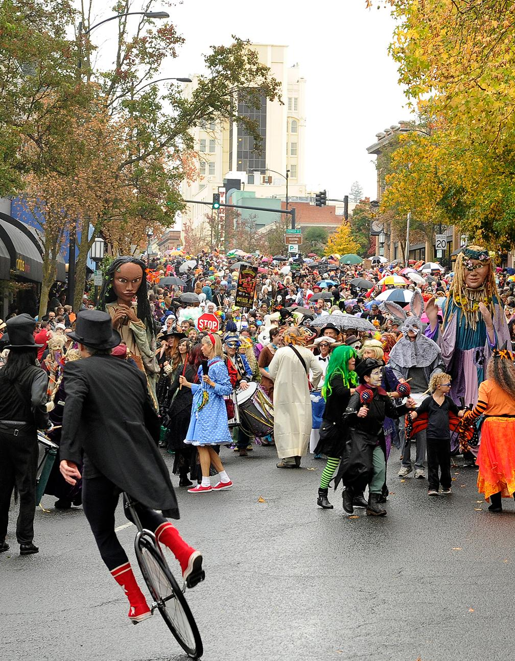 Andy Atkinson / Daily Tidings<br>The annual Halloween parade makes its way through downtown Wednesday afternoon.