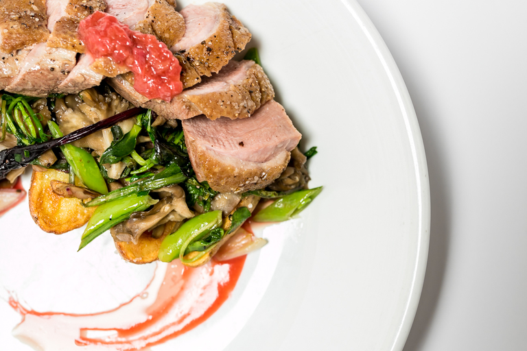 Duck Breast: tamps, fiddlehead ferns, confit potatoes, wild mushrooms, mustard greens, and strawberry polvrade sauce / Image: Amy Elisabeth Spasoff // Published: 7.12.18