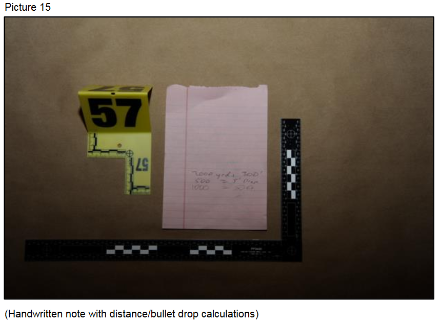Handwritten note with distance and bullet drop calculations{ }(Courtesy LVMPD)