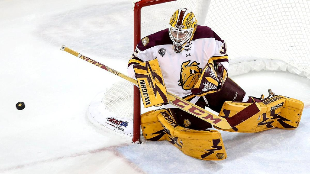 Minnesota Duluth freshman goalie Hunter Miska posted his school record-tying fifth shutout this season in UMD's 5-0 victory against Union on Friday. (Courtey UMD Athletics)