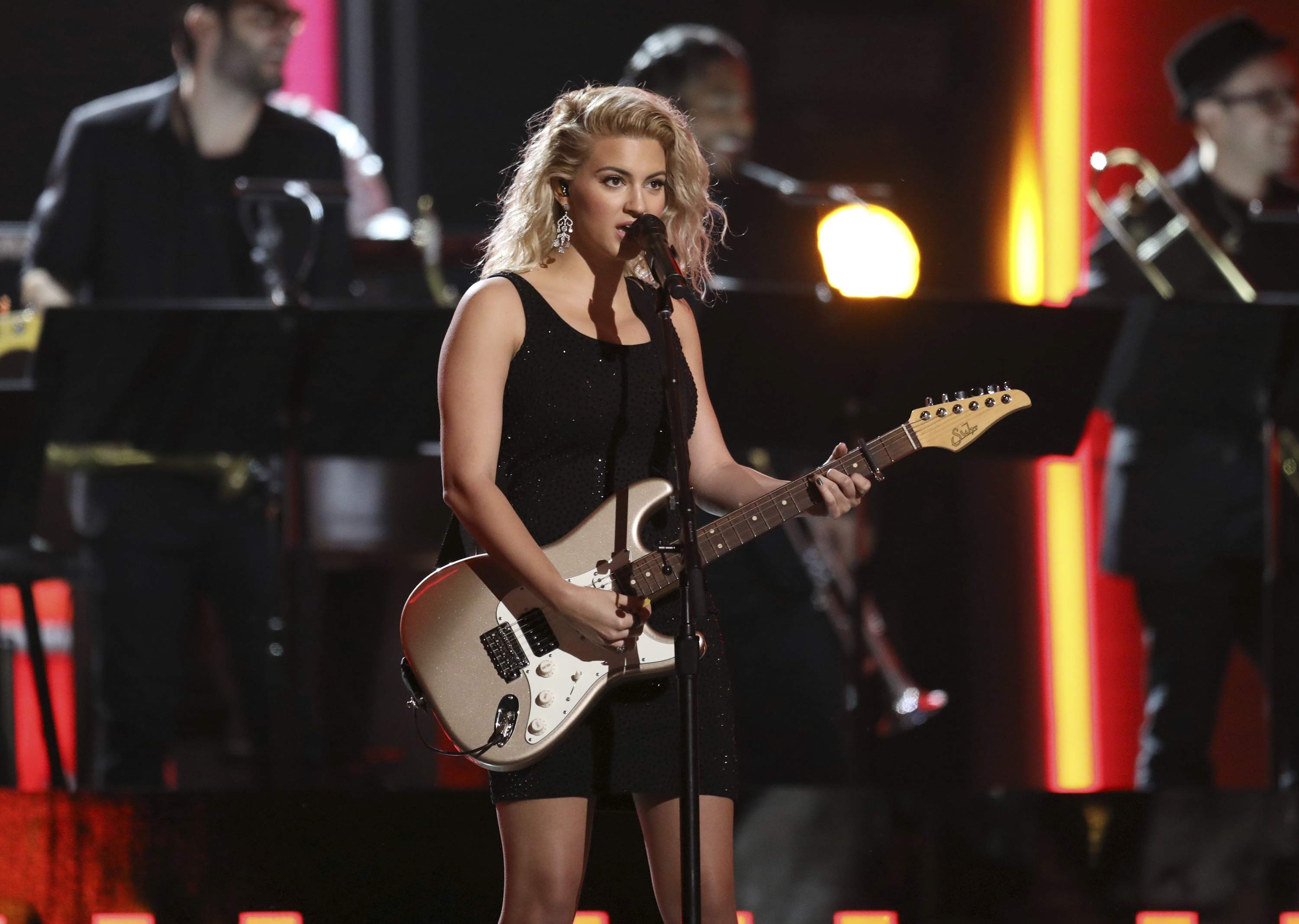 Tori Kelly performs a tribute to the Bee Gees at the 59th annual Grammy Awards on Sunday, Feb. 12, 2017, in Los Angeles. THE ASSOCIATED PRESS