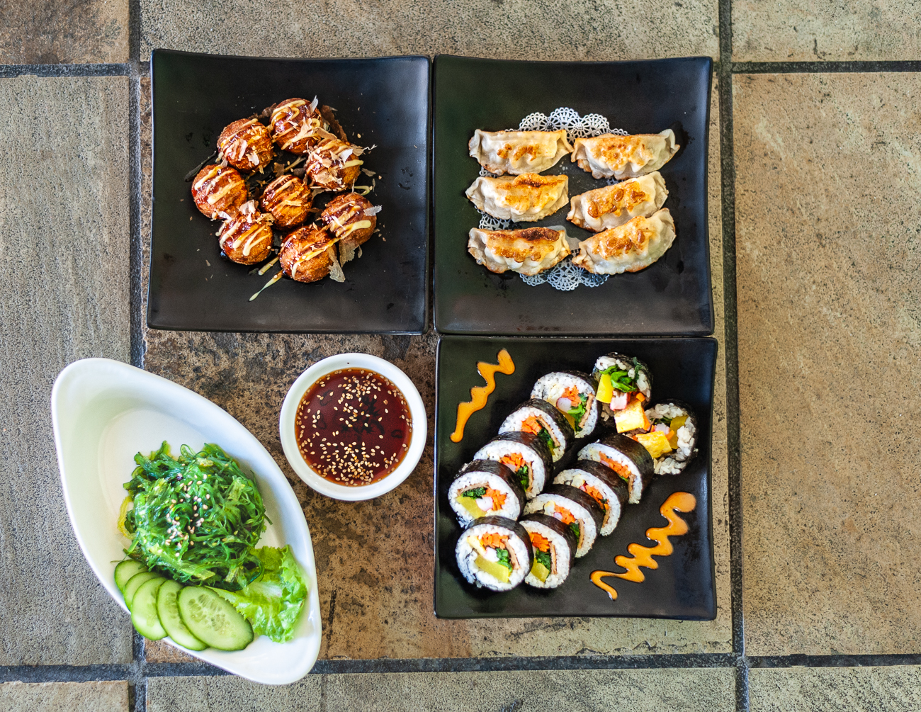 Takoyaki, Gyoza, Gimbap, and Seaweed Salad / Image: Kellie Coleman // Published: 12.29.20<p></p>