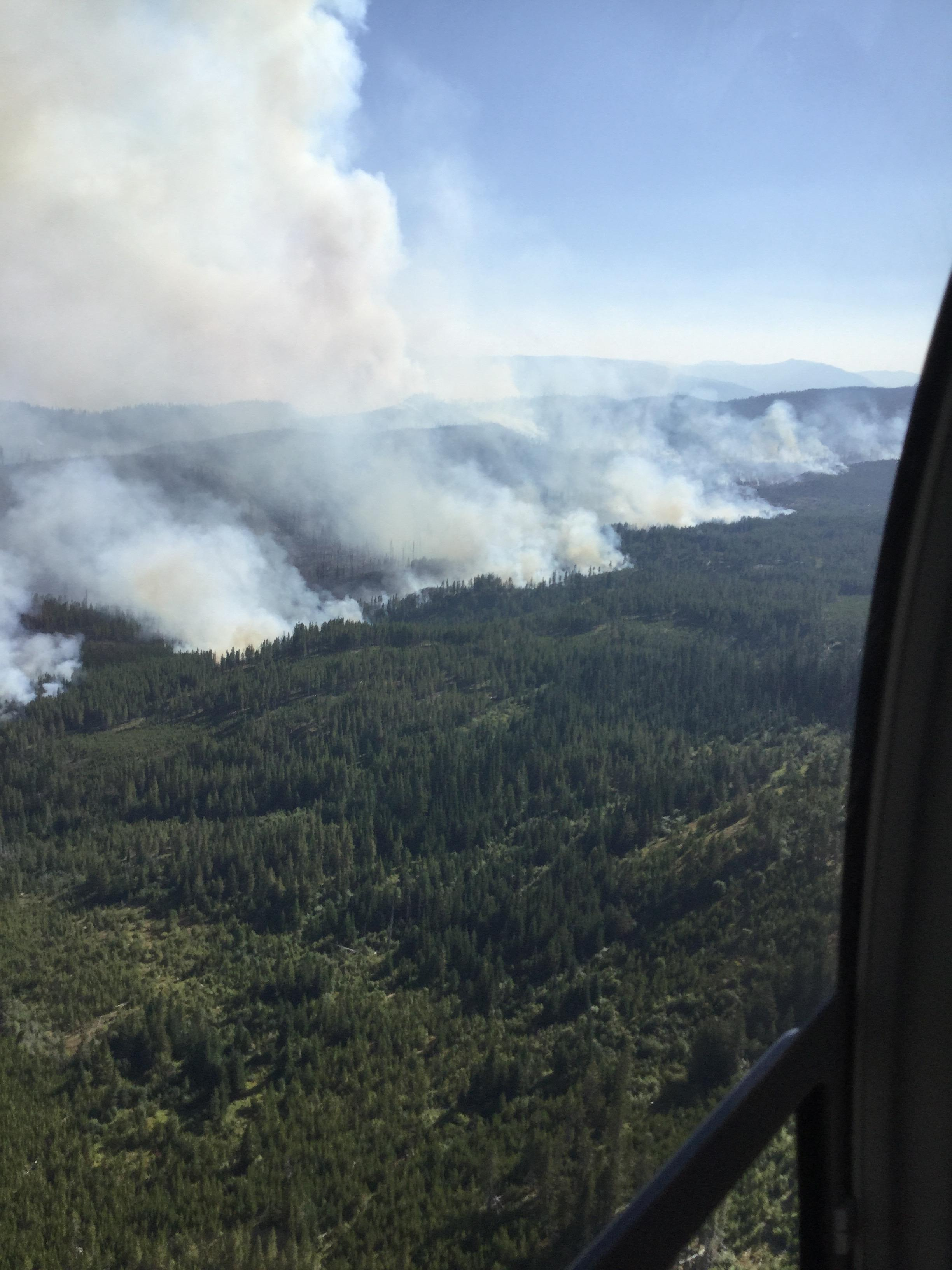 The Highline Fire, located about 23 miles east/northeast of Warren, has grown to about 68,000 acres as of Tuesday morning and is continues to be extremely active, fire managers say. The lightning-caused fire, which started July 29, is being manned by about 85 fire crew members.