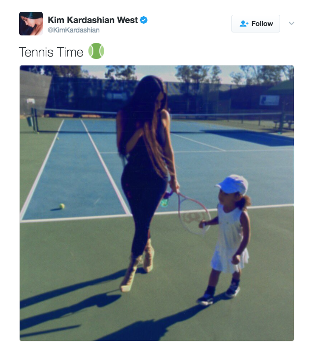 Kim Kardashian posts a photo on Twitter with daughter North on the tennis court.