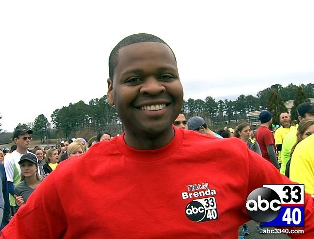 ABC 33/40 reporter Larry Miller at the 10th Annual Brenda Ladun Conquer Cancer Run, Saturday, March 1, 2014.