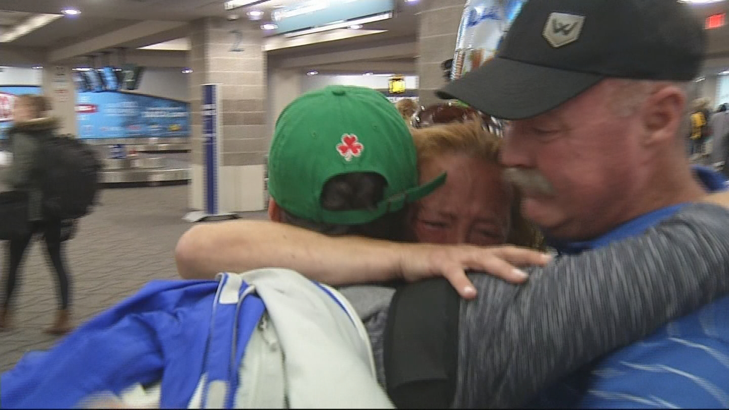 Two parents were reunited with their daughter on Tuesday, Sept. 26, 2017, after they lost contact her when Hurricane Maria hit the island of Dominica. (WJAR)